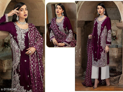 Krishna Tex Purple Fox Georgette With Embroidery Work With Sequence Suit