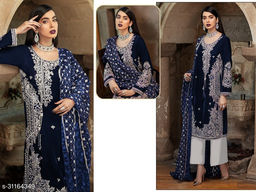 Krishna Tex Blue Fox Georgette With Embroidery Work With Sequence Suit