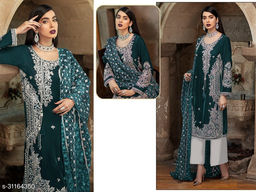 Krishna Tex Teal Fox Georgette With Embroidery Work With Sequence Suit