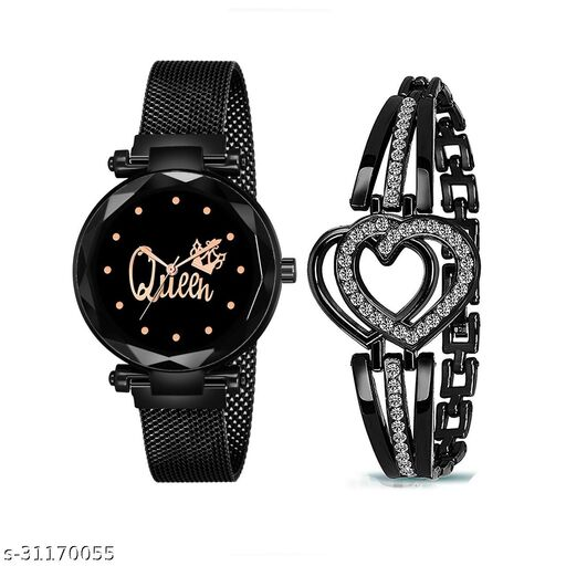 Queen Dial Black Magnet Strap Analog Watch and Diamond Studded Black Heart Bracelet Combo for Girl's and Women