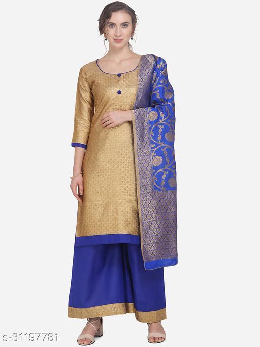 Gold & Royal Blue Jacquard Women's Unstitched Dress Material
