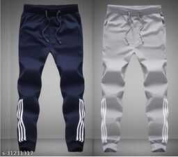Joggers Park Men Half Stripes Grey & Navy Track Pants