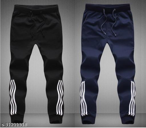 Joggers Park Men Half Stripes Black & Navy Track Pants