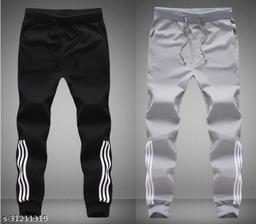 Joggers Park Men Half Stripes Black & Grey Track Pants