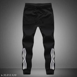 Joggers Park Men Half Stripes Black Track Pants