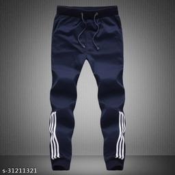 Joggers Park Men Half Stripes Navy Track Pants