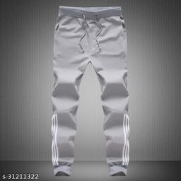 Joggers Park Men Half Stripes Grey Track Pants