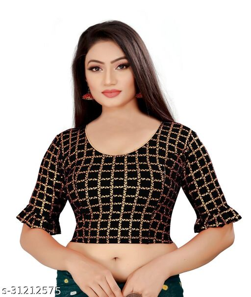 Designer Foil checkered round neck stretchable Blouse with 3/4th sleeve with frill