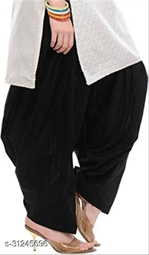 KriSo Women's Cotton Patiala Salwar Free Size Black Colour