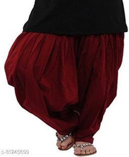 KriSo Women's Cotton Patiala Salwar Free Size Maroon Colour