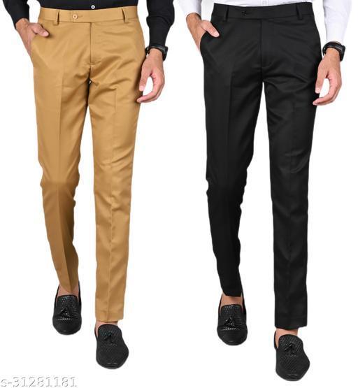 Men's Slim Fit Formal Trousers - Khaki, Black Combo (Pack Of 2)