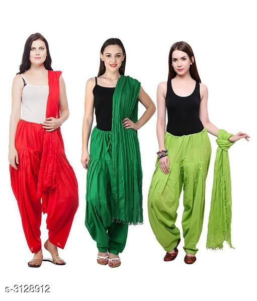 Ethnic Bottomwear - Patiala Pants Fabulous Cotton Patialas Pant & Dupattas (Pack Of 3)  *Fabric* Patiala Pant - Cotton , Dupatta - Cotton  *Size* Patiala Pant - Up To 28 in To  36 in (Free Size) , Dupatta - 2.25 Mtr  *Length* Patiala Pant - Up to 41 in  *Type* Stitched  *Description* It Has 3 Pieces Of Patiala Pants With 3 Pieces Of Dupattas    *Pattern* Solid  *Sizes Available* Free Size   Supplier Rating: ★3 (109) SKU: PATLOT109 Free shipping is available for this item. Pkt. Weight Range: 900  Catalog Name:  Fabulous Cotton Patialas Pant & Dupattas  - KHUSH Trend Code: 9601-3128912--