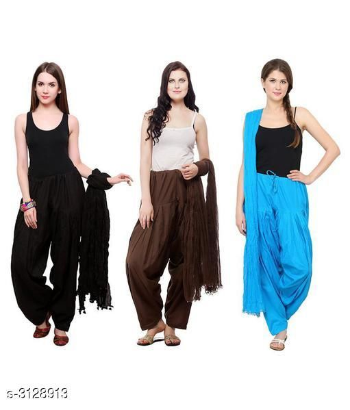 Ethnic Bottomwear - Patiala Pants Fabulous Cotton Patialas Pant & Dupattas (Pack Of 3)  *Fabric* Patiala Pant - Cotton , Dupatta - Cotton  *Size* Patiala Pant - Up To 28 in To  36 in (Free Size) , Dupatta - 2.25 Mtr  *Length* Patiala Pant - Up to 41 in  *Type* Stitched  *Description* It Has 3 Pieces Of Patiala Pants With 3 Pieces Of Dupattas    *Pattern* Solid  *Sizes Available* Free Size   Supplier Rating: ★3 (109) SKU: PATLOT110 Free shipping is available for this item. Pkt. Weight Range: 900  Catalog Name:  Fabulous Cotton Patialas Pant & Dupattas  - KHUSH Trend Code: 9601-3128913--