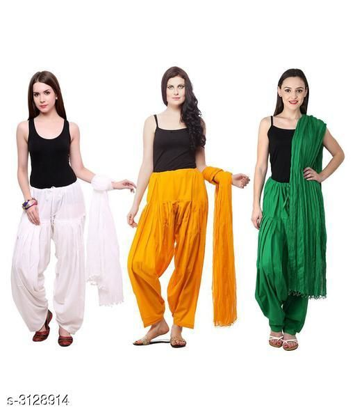 Ethnic Bottomwear - Patiala Pants Fabulous Cotton Patialas Pant & Dupattas (Pack Of 3)  *Fabric* Patiala Pant - Cotton , Dupatta - Cotton  *Size* Patiala Pant - Up To 28 in To  36 in (Free Size) , Dupatta - 2.25 Mtr  *Length* Patiala Pant - Up to 41 in  *Type* Stitched  *Description* It Has 3 Pieces Of Patiala Pants With 3 Pieces Of Dupattas    *Pattern* Solid  *Sizes Available* Free Size   Supplier Rating: ★3 (109) SKU: PATLOT111 Free shipping is available for this item. Pkt. Weight Range: 900  Catalog Name:  Fabulous Cotton Patialas Pant & Dupattas  - KHUSH Trend Code: 9601-3128914--