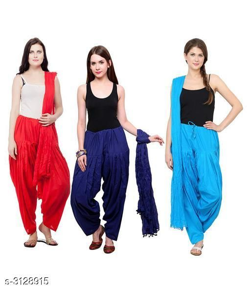 Ethnic Bottomwear - Patiala Pants Fabulous Cotton Patialas Pant & Dupattas (Pack Of 3)  *Fabric* Patiala Pant - Cotton , Dupatta - Cotton  *Size* Patiala Pant - Up To 28 in To  36 in (Free Size) , Dupatta - 2.25 Mtr  *Length* Patiala Pant - Up to 41 in  *Type* Stitched  *Description* It Has 3 Pieces Of Patiala Pants With 3 Pieces Of Dupattas    *Pattern* Solid  *Sizes Available* Free Size   Supplier Rating: ★3 (109) SKU: PATLOT114 Free shipping is available for this item. Pkt. Weight Range: 900  Catalog Name:  Fabulous Cotton Patialas Pant & Dupattas  - KHUSH Trend Code: 9601-3128915--