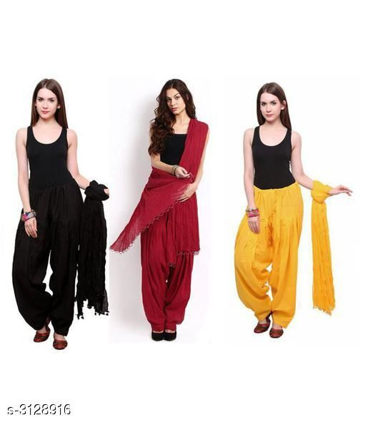 Ethnic Bottomwear - Patiala Pants Fabulous Cotton Patialas Pant & Dupattas (Pack Of 3)  *Fabric* Patiala Pant - Cotton , Dupatta - Cotton  *Size* Patiala Pant - Up To 28 in To  36 in (Free Size) , Dupatta - 2.25 Mtr  *Length* Patiala Pant - Up to 41 in  *Type* Stitched  *Description* It Has 3 Pieces Of Patiala Pants With 3 Pieces Of Dupattas    *Pattern* Solid  *Sizes Available* Free Size   Supplier Rating: ★3 (109) SKU: PATLOT115 Free shipping is available for this item. Pkt. Weight Range: 900  Catalog Name:  Fabulous Cotton Patialas Pant & Dupattas  - KHUSH Trend Code: 9601-3128916--