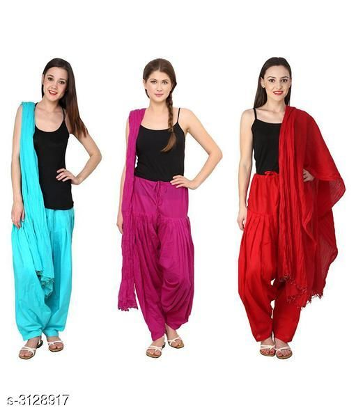 Ethnic Bottomwear - Patiala Pants Fabulous Cotton Patialas Pant & Dupattas (Pack Of 3)  *Fabric* Patiala Pant - Cotton , Dupatta - Cotton  *Size* Patiala Pant - Up To 28 in To  36 in (Free Size) , Dupatta - 2.25 Mtr  *Length* Patiala Pant - Up to 41 in  *Type* Stitched  *Description* It Has 3 Pieces Of Patiala Pants With 3 Pieces Of Dupattas    *Pattern* Solid  *Sizes Available* Free Size   Supplier Rating: ★3 (109) SKU: PATLOT116 Free shipping is available for this item. Pkt. Weight Range: 900  Catalog Name:  Fabulous Cotton Patialas Pant & Dupattas  - KHUSH Trend Code: 9601-3128917--