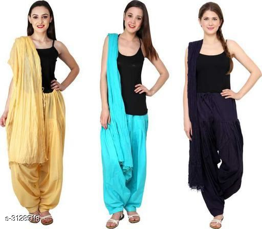 Ethnic Bottomwear - Patiala Pants Fabulous Cotton Patialas Pant & Dupattas (Pack Of 3)  *Fabric* Patiala Pant - Cotton , Dupatta - Cotton  *Size* Patiala Pant - Up To 28 in To  36 in (Free Size) , Dupatta - 2.25 Mtr  *Length* Patiala Pant - Up to 41 in  *Type* Stitched  *Description* It Has 3 Pieces Of Patiala Pants With 3 Pieces Of Dupattas    *Pattern* Solid  *Sizes Available* Free Size   Supplier Rating: ★3 (109) SKU: PATLOT117 Free shipping is available for this item. Pkt. Weight Range: 900  Catalog Name:  Fabulous Cotton Patialas Pant & Dupattas  - KHUSH Trend Code: 9601-3128918--