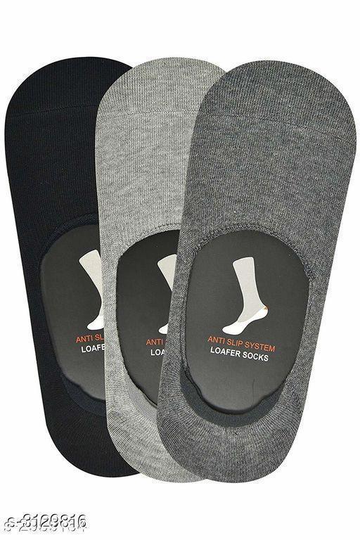Elegant Cotton Men's Loafer Socks ( Pack Of 3 )