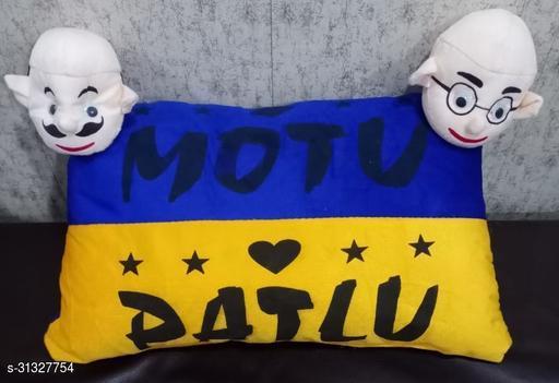 HK Collection Latest Design Multicolour Motu Patlu Pillow (Set of 1 Pieces)