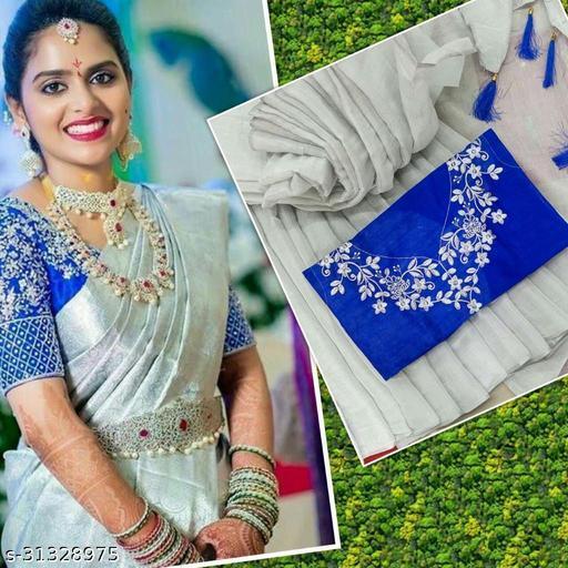 WOMEN'S BEST SAREES UPPADA SILK CLOTH WITH LATAKN & BANGLORI SILK WITH EMBROIDERY DESIGN WORK
