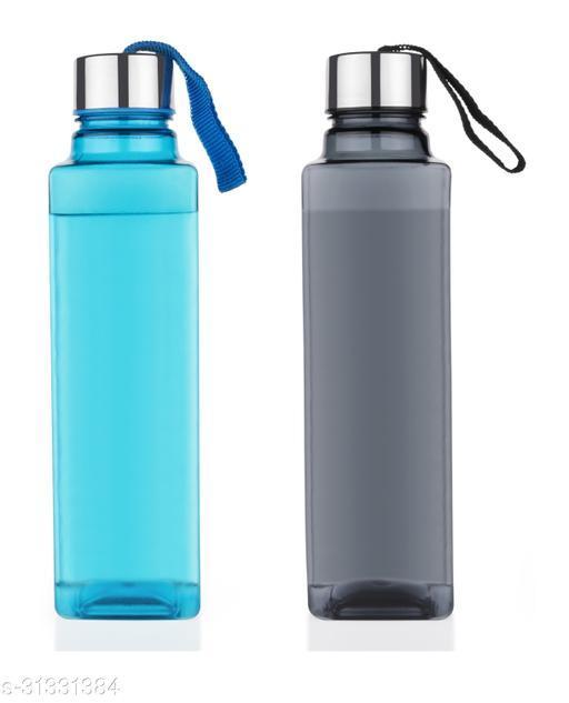 Spandan Set Of 2 Square Shape Premium 1000 ml  Fridge Water Bottles For Home,Office,Gym,Workout,Travel,School (1 Black,1 Blue)