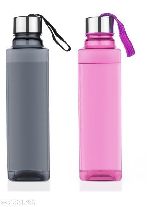 Spandan Set Of 2 Square Shape Premium 1000 ml  Fridge Water Bottles For Home,Office,Gym,Workout,Travel,School (1 Black,1 Pink)