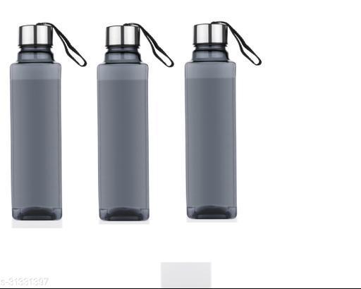 Spandan Set Of 3 Square Shape Premium 1000 ml  Fridge Water Bottles For Home,Office,Gym,Workout,Travel,School (3 Black )
