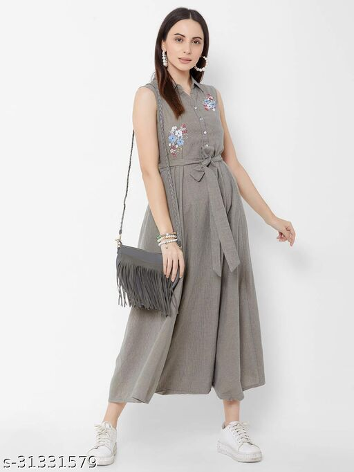 ZOLA Women's Cotton A-line Grey Tent Dress with Embroidery Detail(306322GREY)