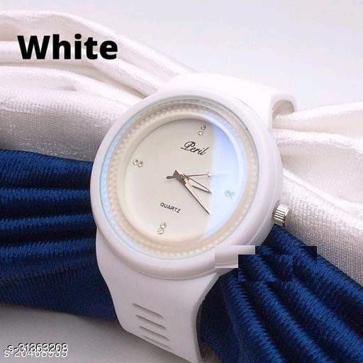 Classic rubber belt Round dial watches for Womens