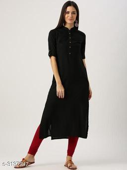 Women's Black Solid Rayon Kurti