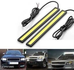 A4S Universal Ultra Bright Daytime Running LED Lights Waterproof Slim Chip COB LEDs Strip DRL Lamp for Cars (6W, White Light, 2 PCS)