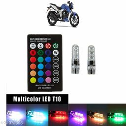 A4S AUTOMOTIVE & ACCESSORIES T10 RGB 6 SMD LED Car/Bike Parking Lights Bulb with Remote Control 13+ Strobe Effect with Memory Function for TVS Apache RTR 160 4V