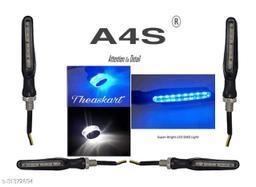 A4S Bikers Combo -Side LED Indicator Light Bike Handle Bar End LED Blinker Indicator Light with KTM Style Sleek blue Indicators Set of 4 (blue KTM Indicator & White blue Handle Bar Light)
