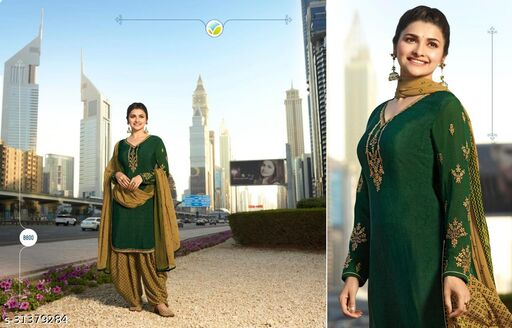 Green Designer Crepe Embroidery Work Patiala Suit