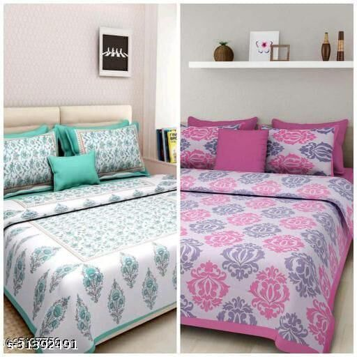 Attractive Trendy soft cotton 90/100 jaipuri printed 180 TC Superfine double bed sheet with 2 pillow covers (combo)