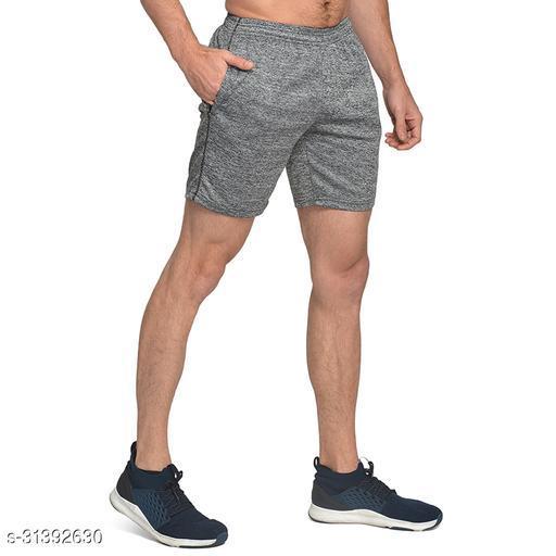 Luric Men Solid Melange Gym Short