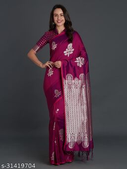 Saree Mall Black Festive Silk Blend Banarasi Saree With Unstitched Blouse