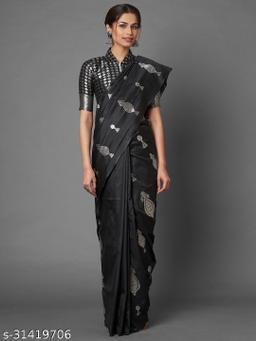 Saree Mall Magenta Festive Silk Blend Banarasi Saree With Unstitched Blouse
