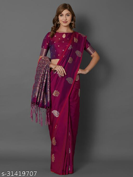 Saree Mall Magenta Festive Silk Blend Woven Border Saree With Unstitched Blouse