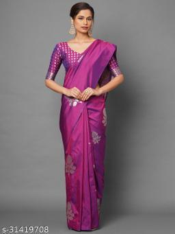 Saree Mall Blue Festive Silk Blend Banarasi Saree With Unstitched Blouse