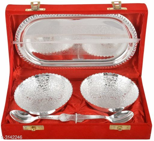 Designer Silver Bowl, Spoon And Tray Set
