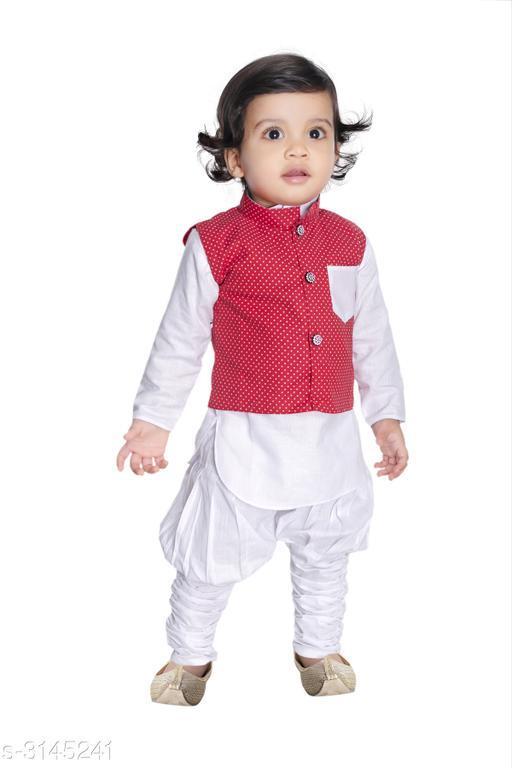 Fancy Silk Cotton Blend Kurta Kid's Boys Pyjama Set