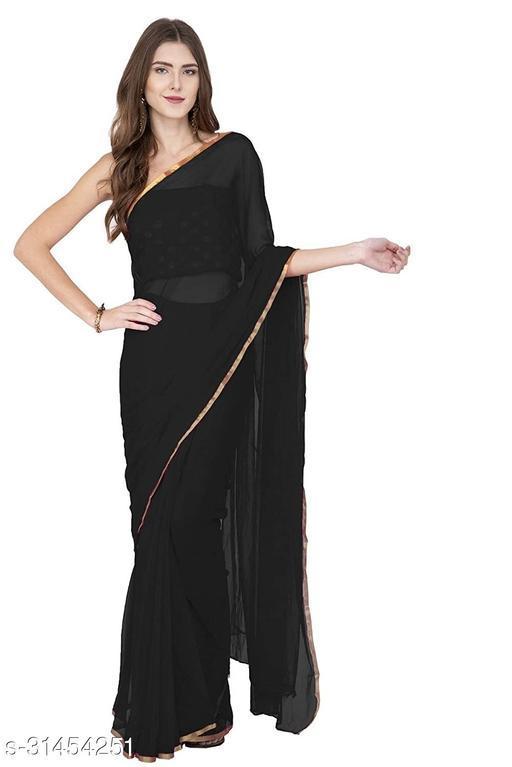 Anni Designer Pure Chiffon Black Plain Saree (SAM BLACK)