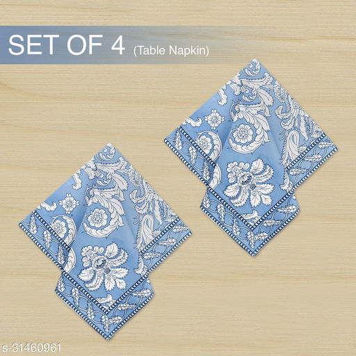 The Earth Store Blue Damask Printed Design Cotton Table Napkins For Dinner Parties,Home,Kitchen Washable Multipurpose  Napkin Cloth( Set of 4)
