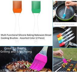 2 PCS Silicone Multi Functional Heat Resistant Pastry Brush Set for Cake, Mixer, Decorating, Cooking, Baking Barbecue Oil Condiment Brushes.