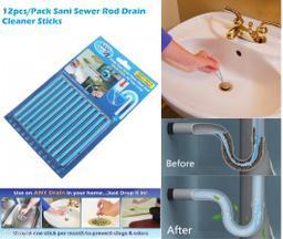 12Pcs/set Sani Sticks Sewer Rod Drain Cleaner Sticks Kitchen Toilet Bathtub Sewage Decontamination To Deodorant Sewer Stop Clogs tools.