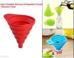 1pcs Mini Silicone Food-Grade Foldable Collapsible Funnel Hopper Household Liquid Dispensing Kitchen Tools. (Random Color)