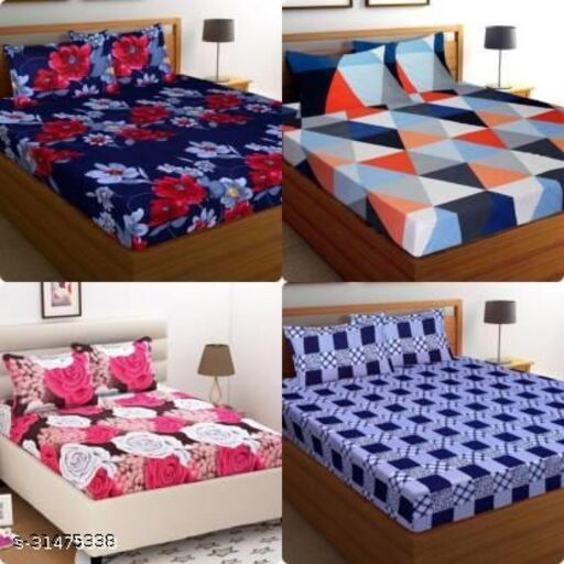 PIKOLO POLY COTTON DOUBLE BED 4  90X90 BEDSHEETS COMBO WITH 8 PILLOW COVERS