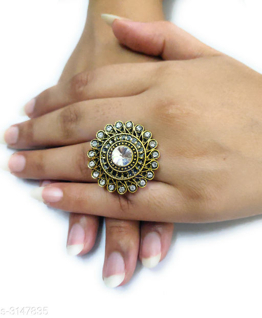Glitzy Colorful Oxidized Gold Finger Ring